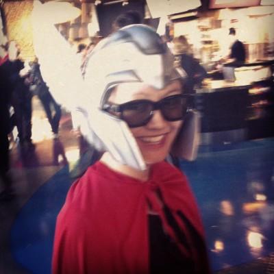 ngoc nguyen dressed as Thor for Avenger's premiere