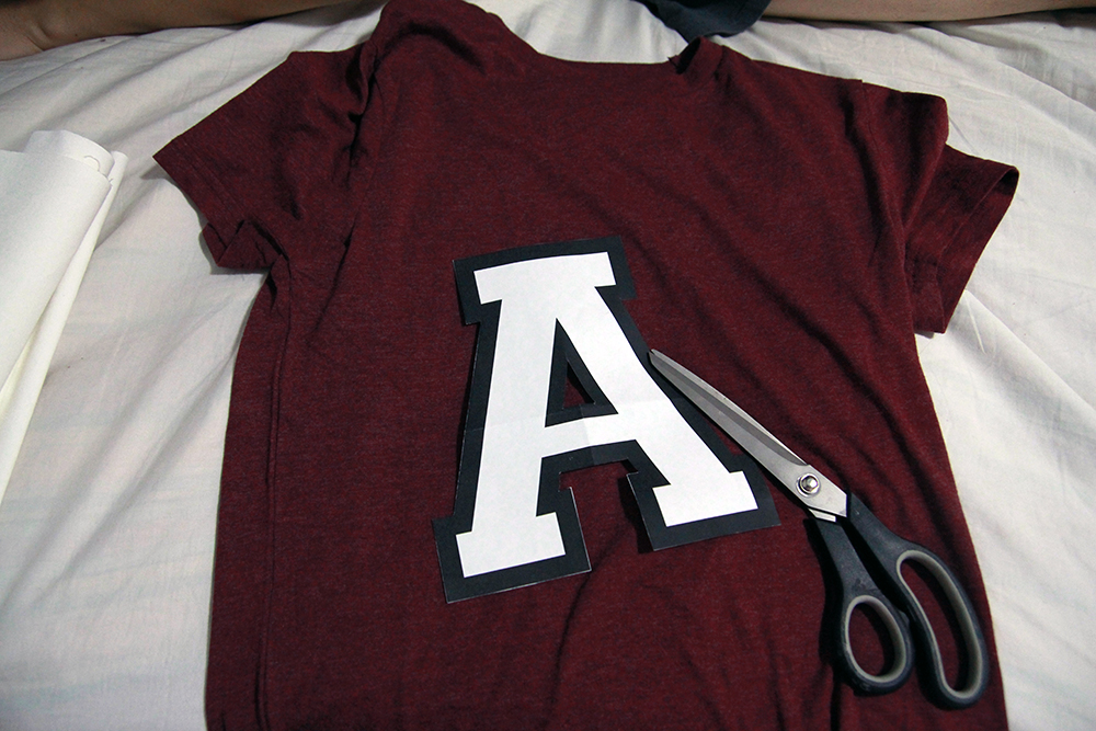 DIY Custom team letter shirts